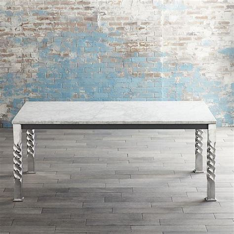 Marble Top Rectangular Dining Table Mallorca Rectangular Marble Top Aluminum Spiral Legs Dining Table