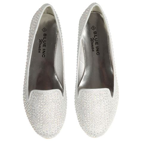shoes silver flats womens silver glitter slip on flat shoes
