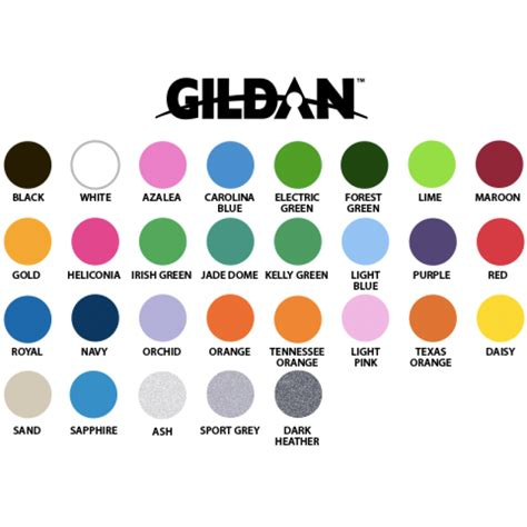 gildan t shirt color chart gildan dryblend 50 50 t shirts screen printed 2impress