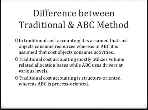 difference between the traditional and activity based costing