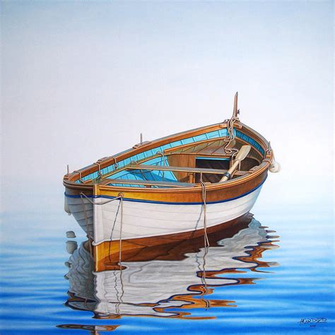 row boat canvas art solitary boat on the sea by horacio cardozo