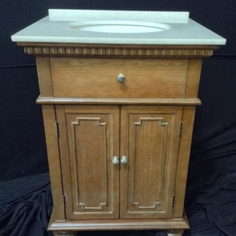 26 inch single sink bathroom vanity with white marble