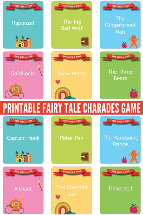charades cards template tale charades