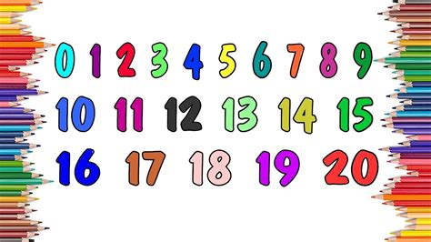 Numbers 0 20 Coloring Pages by Learn Colors And Numbers 0 20 With Paint Baby Coloring