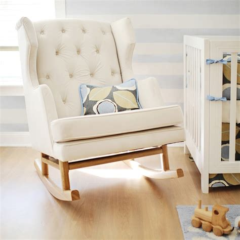 White Color Modern Tufted Nursery Rocker For Small Room Small Rocking Chair For Nursery