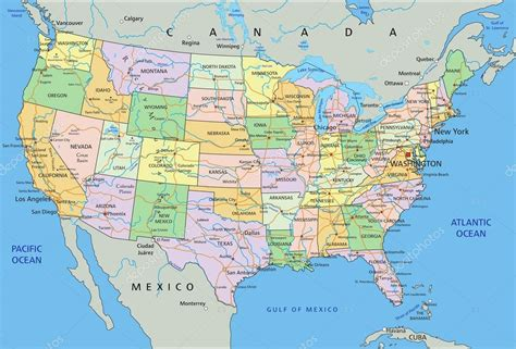 map usa with oceans united states of america political map archivo