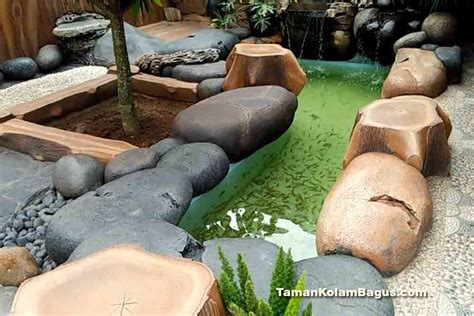 inspirasi kolam ikan hias minimalis modern taman