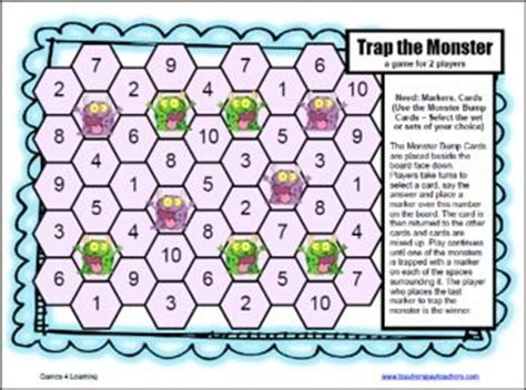 Printable Division Games For The Classroom | cute trap the monster division board game 12 printable