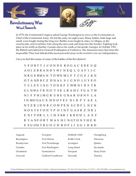 Washington Search Revolutionary War Word Search