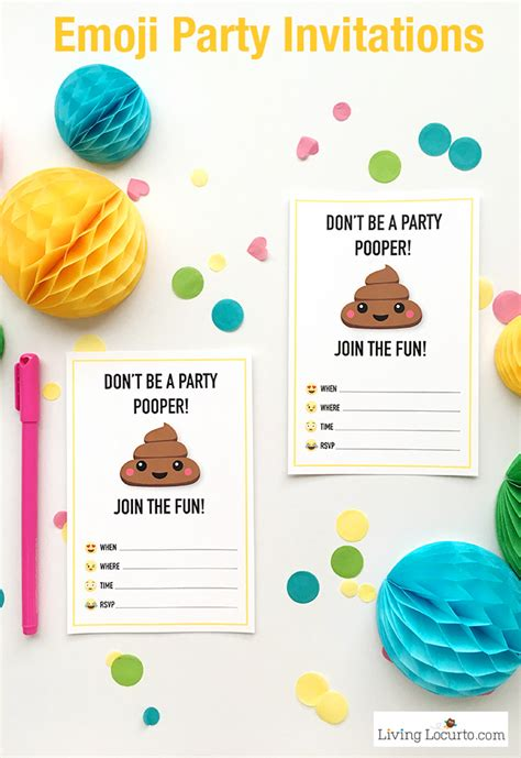printable emoji birthday invitations emoji party ideas colorful free party printables perfect