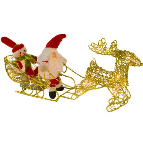 led light up gold wire reindeer sleigh snowman christmas decoration