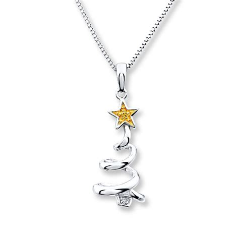 kay christmas tree necklace with diamonds sterling