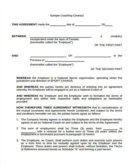 Coaching Contract Template Free Gallery Template Design Ideas Coaching Contract Template Free