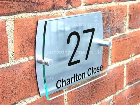 Glass Door Numbers Plaques Modern House Sign Plaque Door Number Glass Effect Acrylic Aluminium A015 Ebay