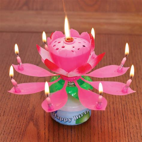 kerzenhalter blume rotating musical flower birthday candle sk collection