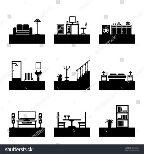 home interior design silhouette icons easily stock vector