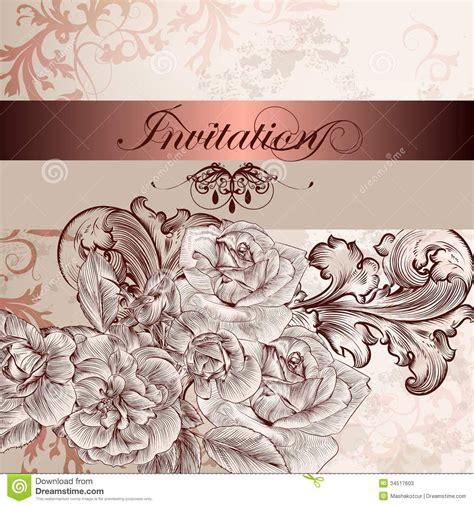 design invitation wedding vector wedding invitation card with flowers for design stock