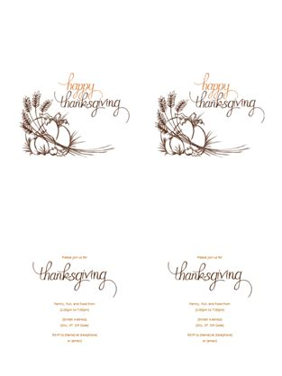 thanksgiving card templates microsoft thanksgiving invitation office templates