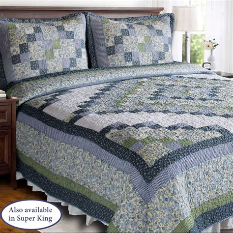 Patchwork Quilt Blue - blue ridge valley green and blue patchwork quilt