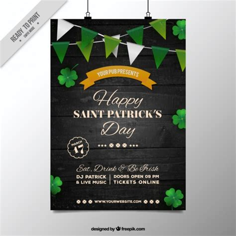 design a st template s day poster with green garlands vector