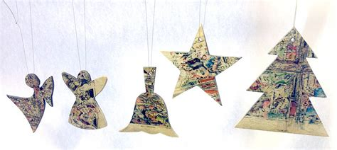 five handmade christmas tree decorations by paperwork