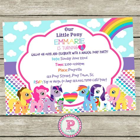 10 best images of my little pony invitation template