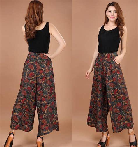 Celana Katun Zetha 2xl 3xl 2018 plus size summer print flower pattern wide leg linen dress casual