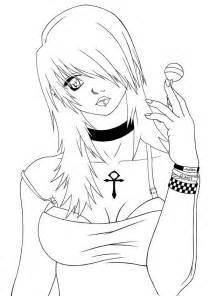 Emo Anime Girls Coloring Pages Sketch Page sketch template
