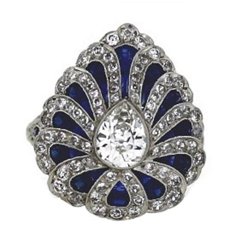 deco ring styles deco style sapphire platinum ring for sale at