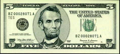 abraham lincoln on the five dollar bill free 5 to spend at kmart or sears