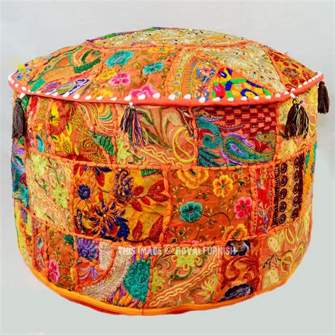 indian pouf ottoman big orange patchwork bohemian round indian pouf ottoman