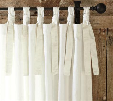 tie drapes textured cotton tie top drape pottery barn