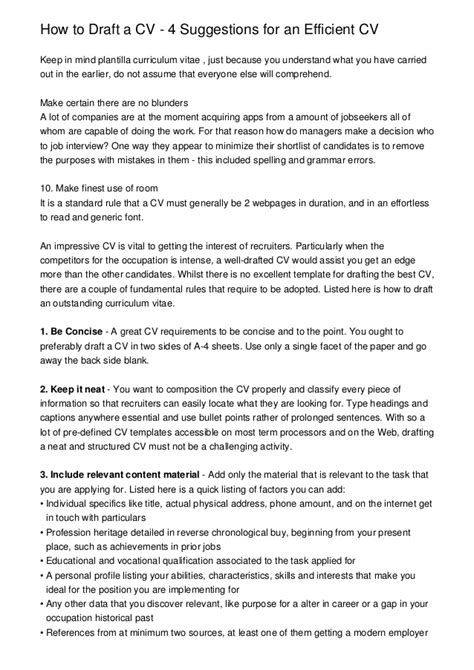 Cv Draft by How To Draft A Cv 4 Suggestions For An Efficient Cv