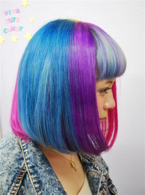 cute hairstyles rainbow short straight rainbow bob hairstyle with blunt bangs