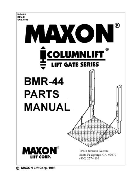 maxon liftgates manuals wiring diagrams wiring diagrams