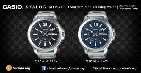 Casio Ion Plated Mtp X100d 2avdf by Casio Analog Mtp X100d 2av Mens Day Date