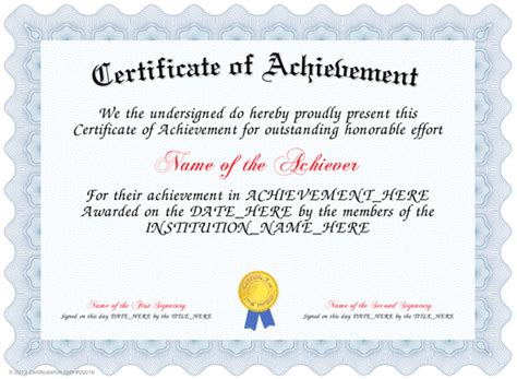 certificate templates for achievement award certificate of achievement