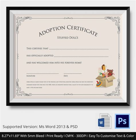 templates for adoption certificates sle adoption certificate template 18 documents in