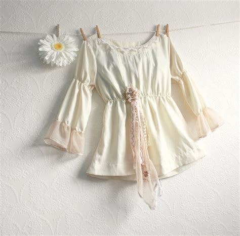 shabby chic cream blouse women s babydoll top long sleeve