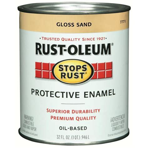 shop rust oleum stops rust sand gloss based enamel interior exterior paint actual net