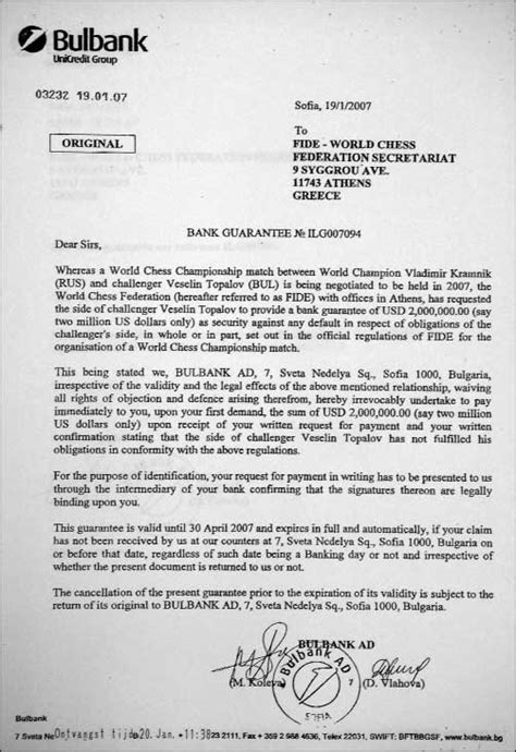 Bank Guarantee Letter Meaning Danailov S Two Million Dollar Bank Guarantee Chessbase