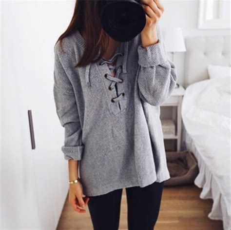 Lace Sweater Gray sweater top lace grey sweater grey pullover lace up