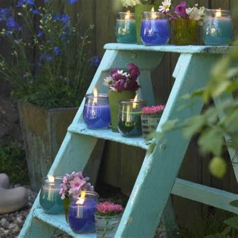 Backyard Decoration Ideas Outdoor Garden Decorations Made Of Wooden Ladders