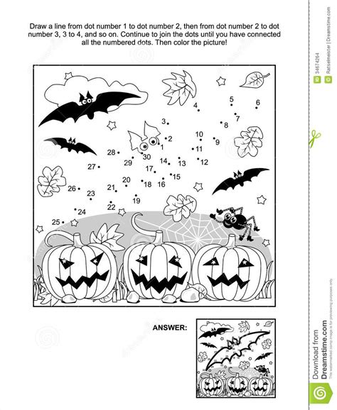 halloween coloring pages dot to dot dot to dot and coloring page halloween bat stock vector