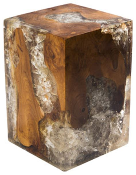 petrified wood block stool cracked resin block stool modern side tables and end