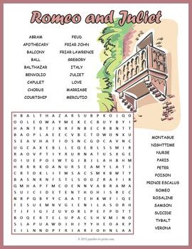 themes of romeo and juliet worksheet romeo and juliet word search puzzle by puzzles to print tpt