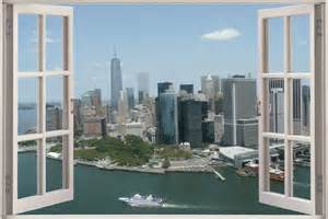 huge 3d window view new york city wall sticker film mural decorating theme bedrooms maries manor new york