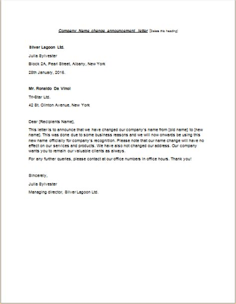 name change cover letter letter format 187 company name change letter format cover
