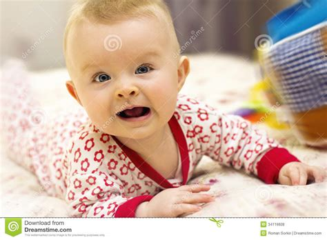 fun in bed baby having fun in parent s bed royalty free stock photos image 34116608