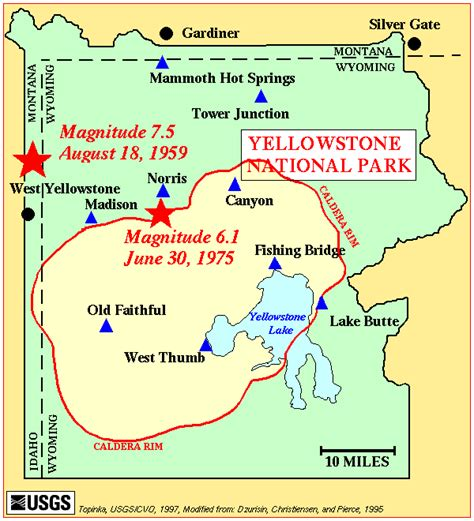 yellowstone park map yellowstone caldera yellowstone geology